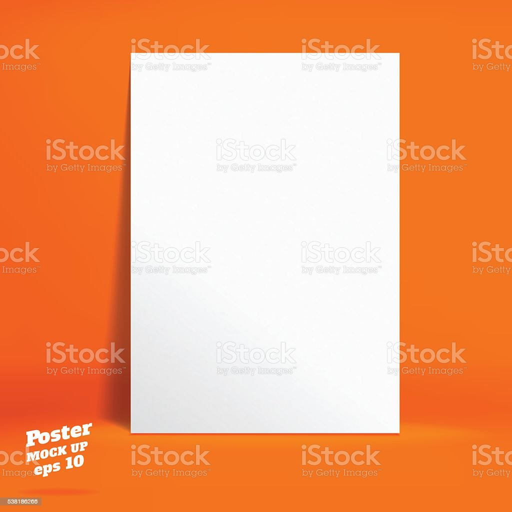 Vector : White poster in Vivid orange studio room vector art illustration