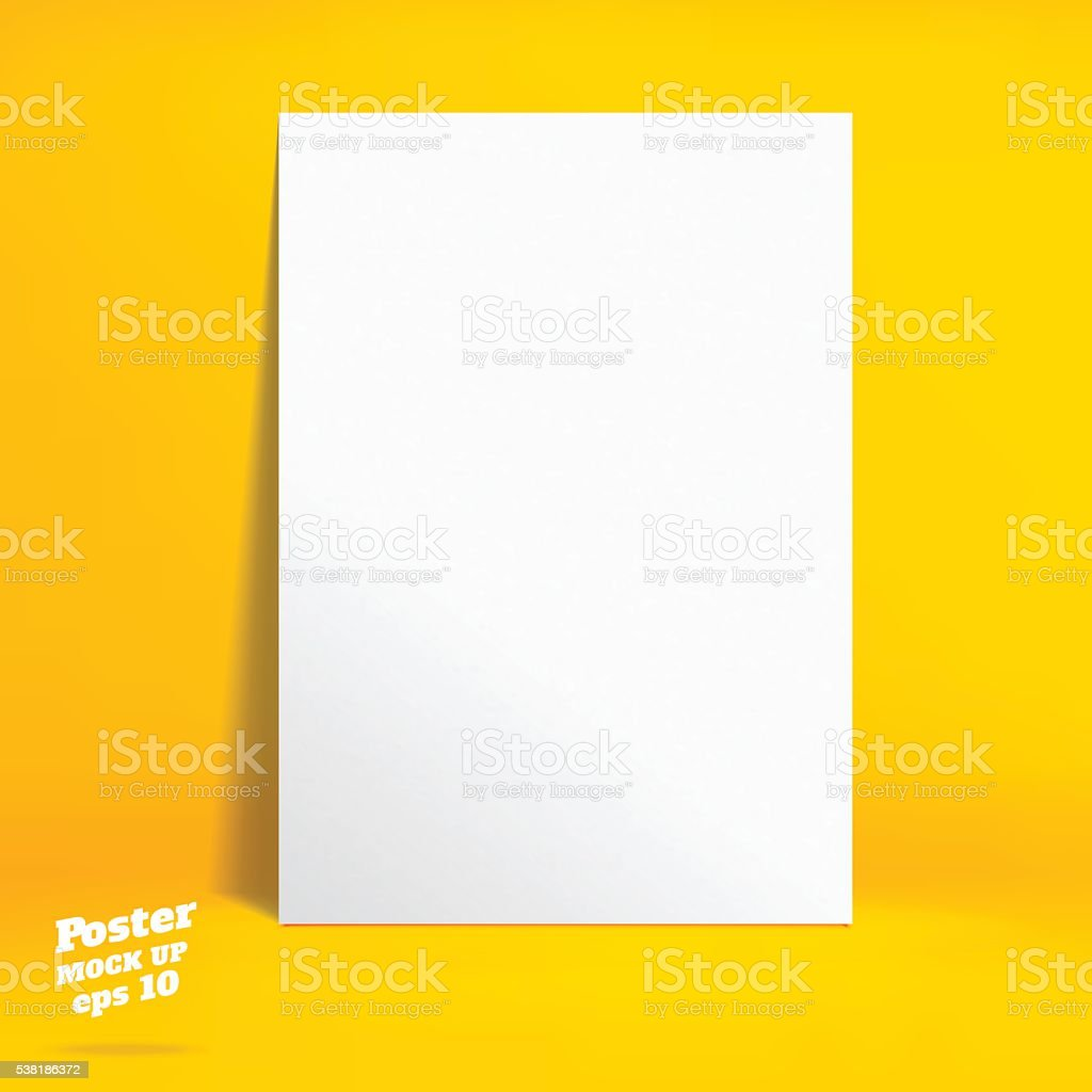 Vector : White poster in vivid yellow studio room vector art illustration