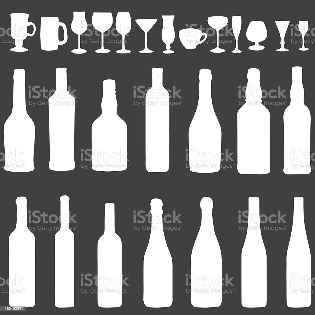 vector white silhouette icon set - bottles and stemware vector art illustration