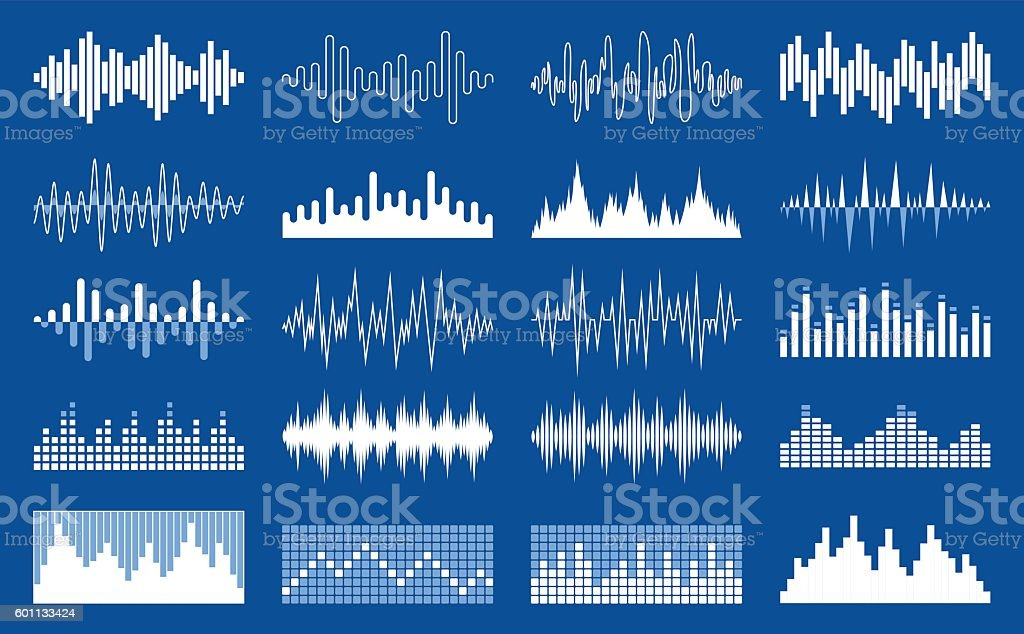Vector white sound wave and equalizer icons vector art illustration