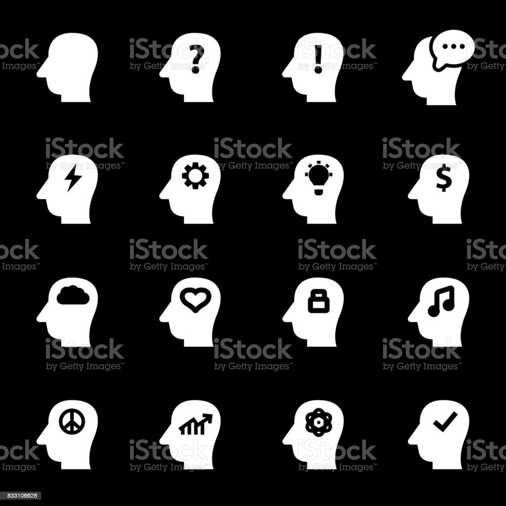 Vector white thoughts icons set vector art illustration