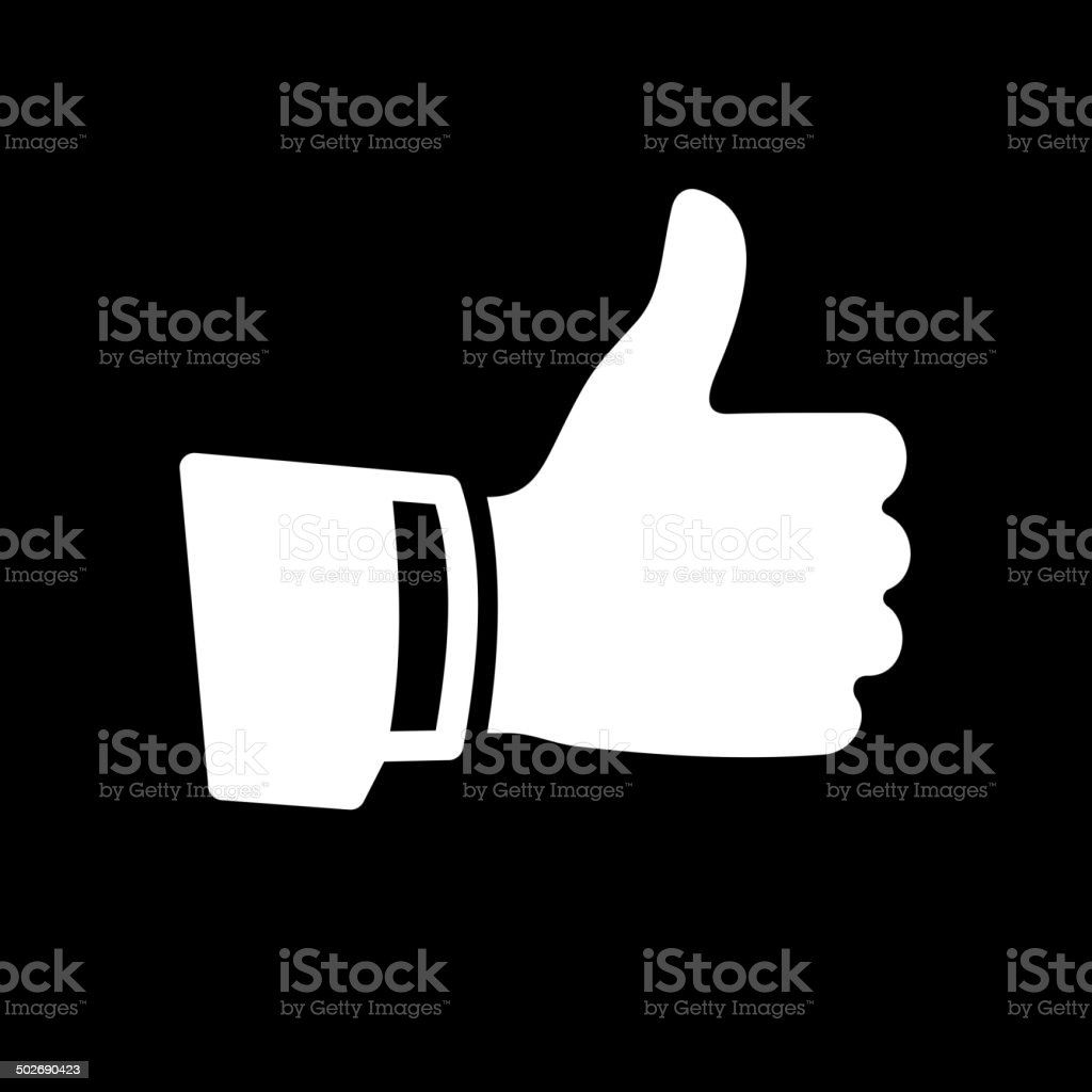 Vector White Thumb Up Icon vector art illustration