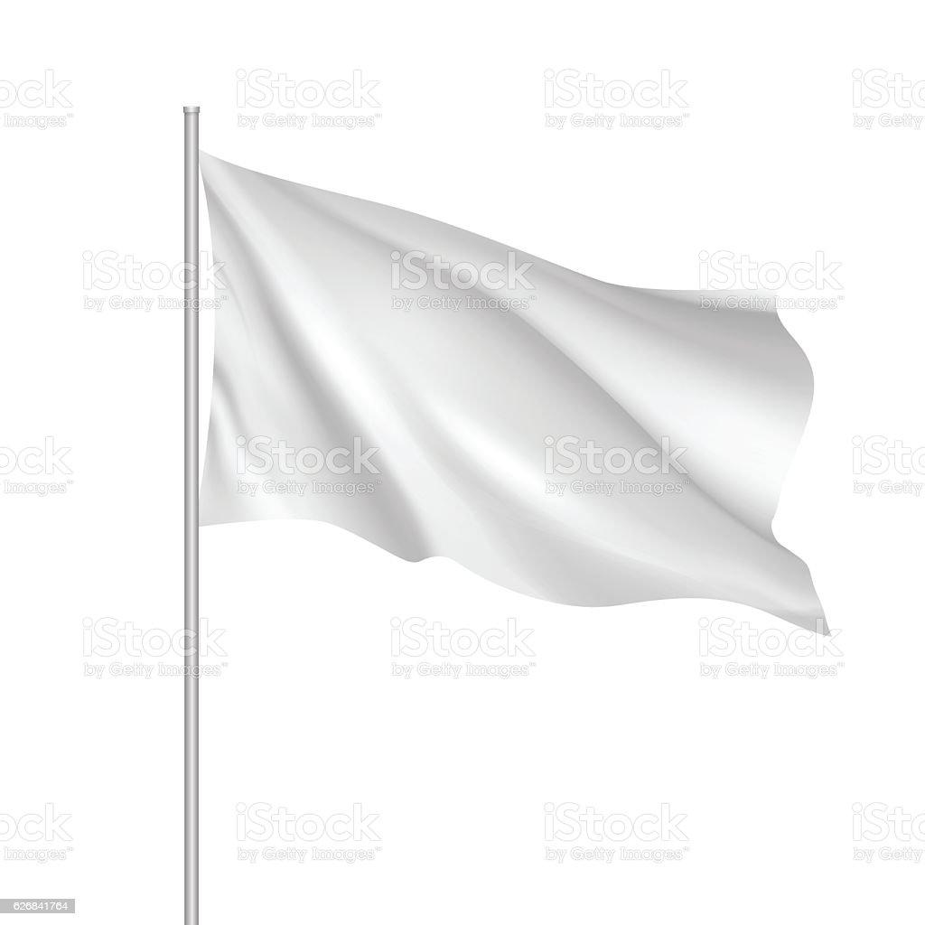Vector white waving flag template. vector art illustration