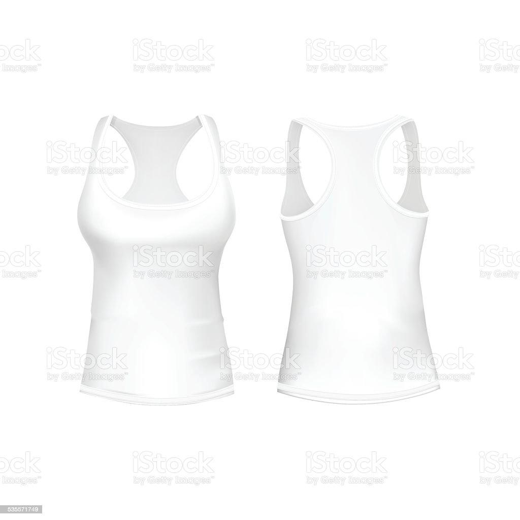 Vector White Women T-shirt vector art illustration
