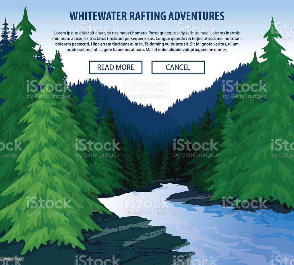Vector whitewater rafting background theme. vector art illustration