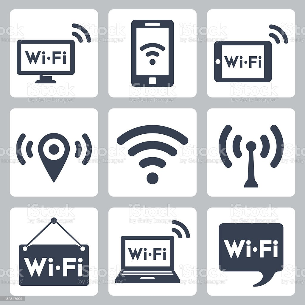 Vector wifi icons set vector art illustration
