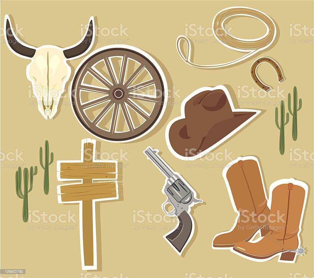Vector Wild West Western Elements royalty-free stock vector art