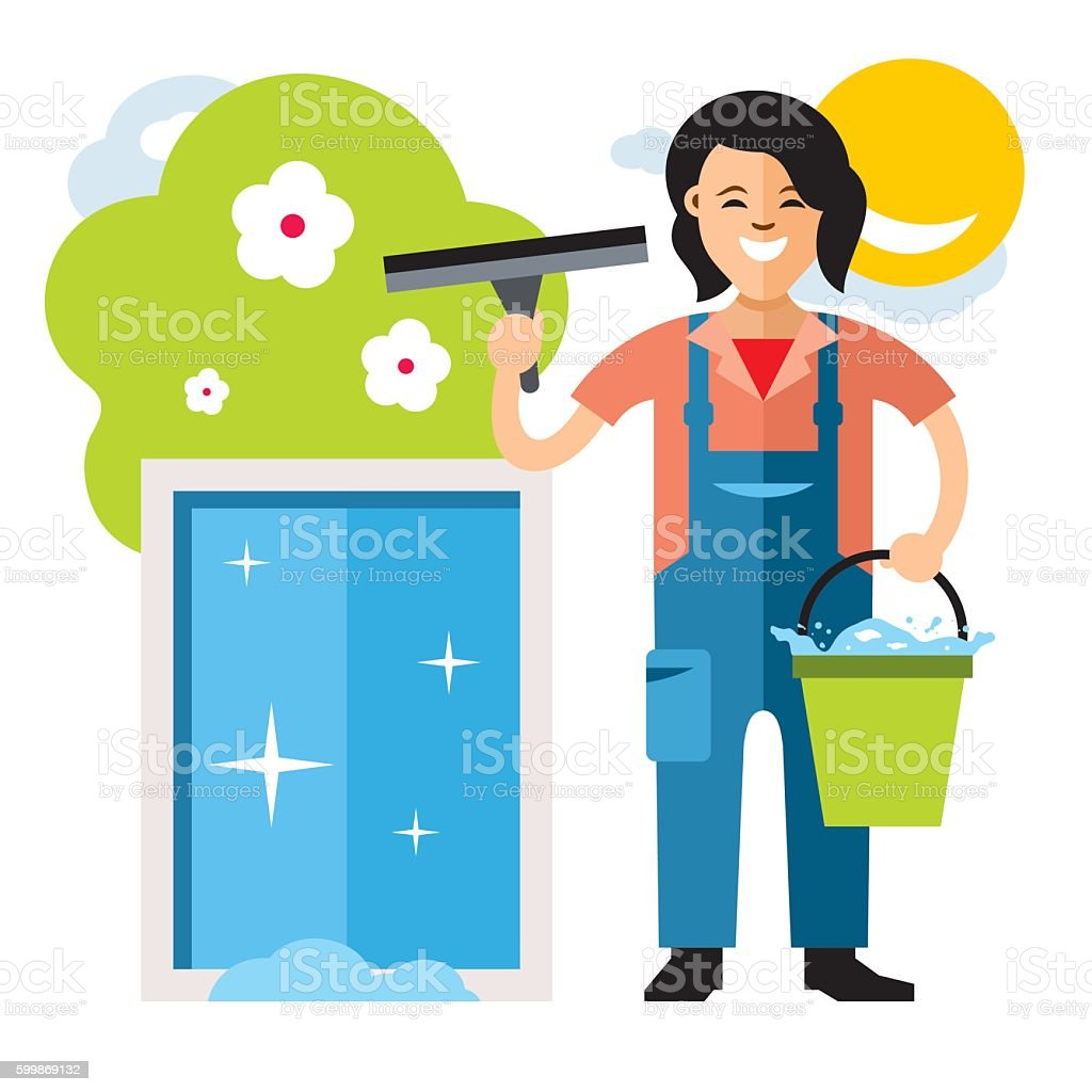 Vector Window washer. Cleaning service. Flat style colorful Cartoon illustration. vector art illustration