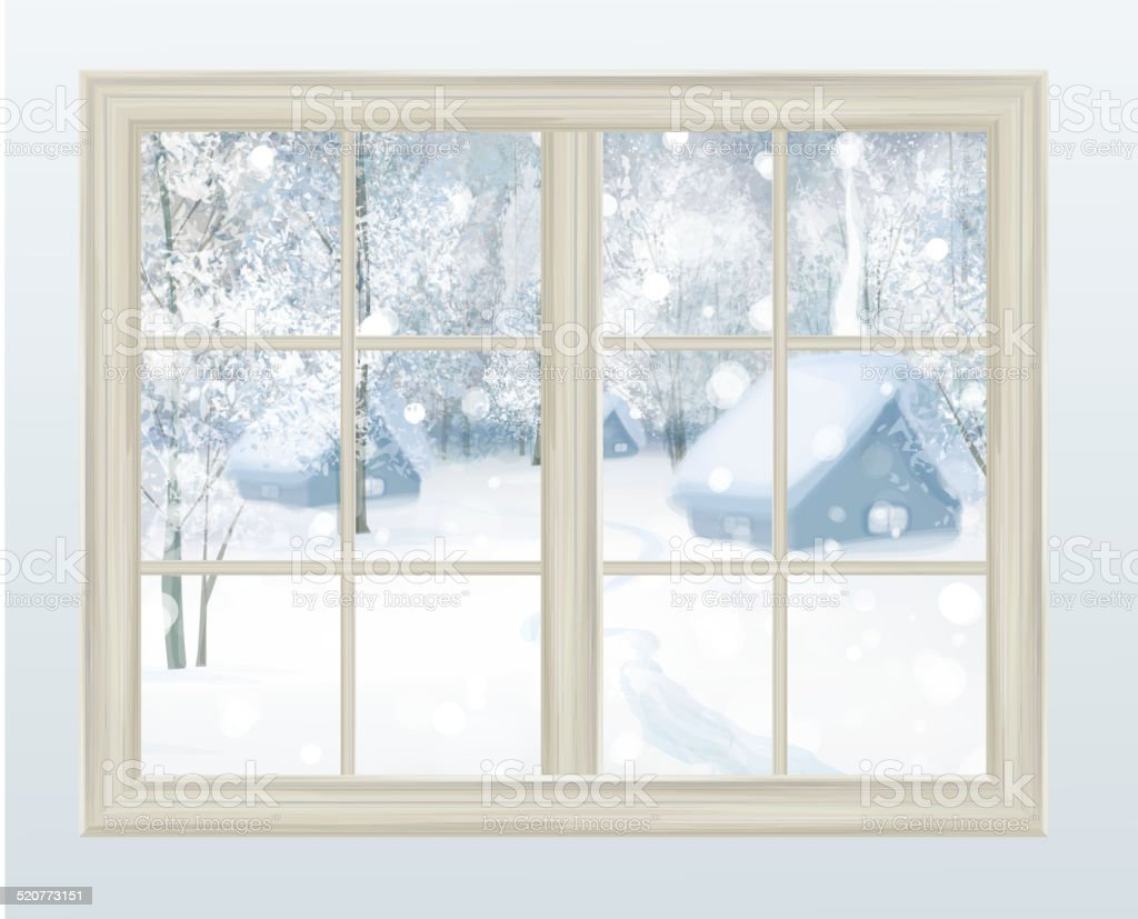 Vector window with  view of snowy background. vector art illustration