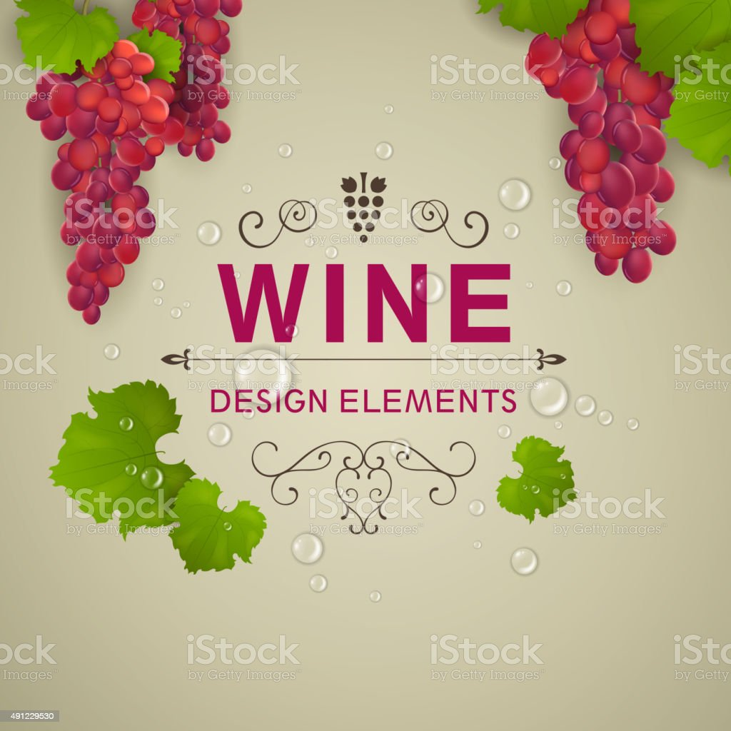 Vector Wine Background with Wine Grapes vector art illustration