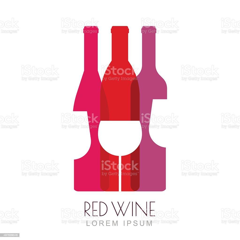 Vector wine bottles and glass, negative space sign design template. vector art illustration