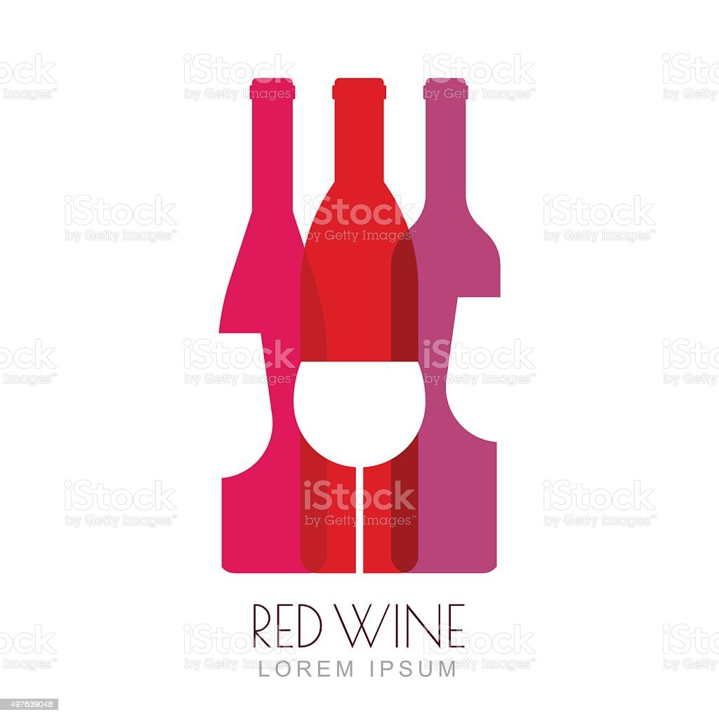 Vector wine bottles and glass, negative space sign design template. vector art illustration