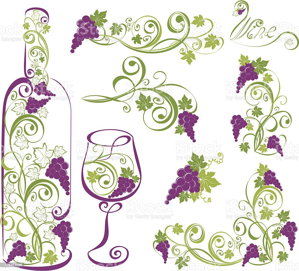 Vector wine design elements vector art illustration