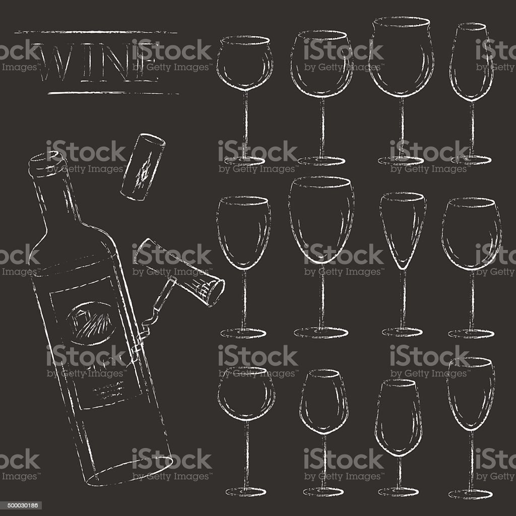 Vector wine glasses and wine bottle chalk illustration vector art illustration