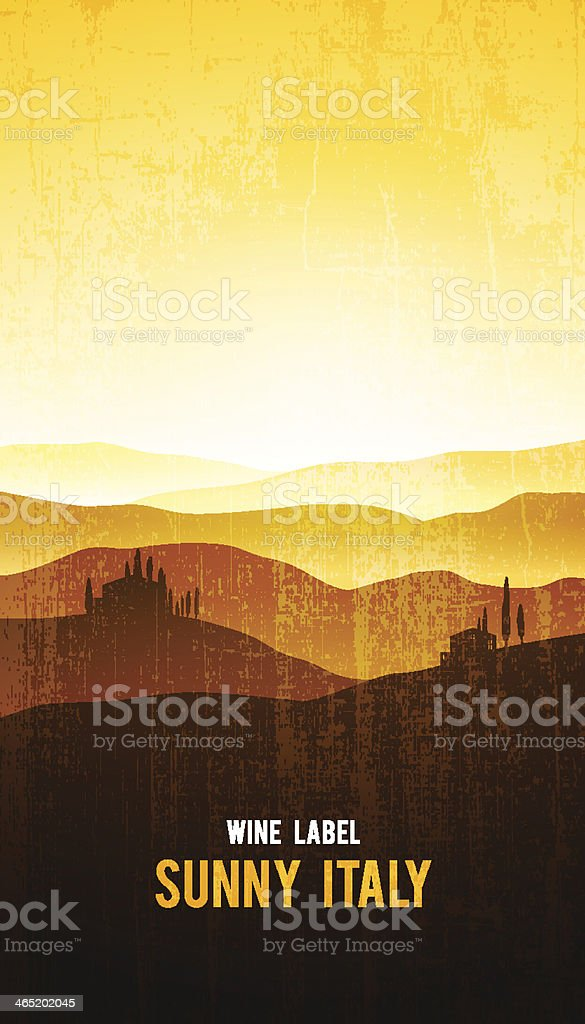 Vector wine label with the landscape vector art illustration