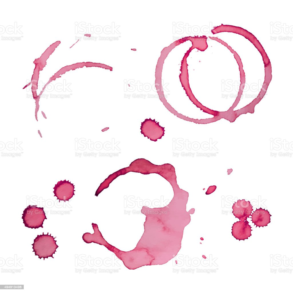 Vector Wine Stain Rings Set 3 vector art illustration