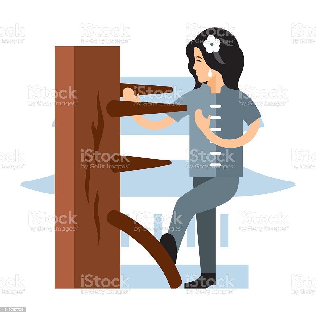 Vector Wing Chun kung fu Woman at a wooden dummy vector art illustration