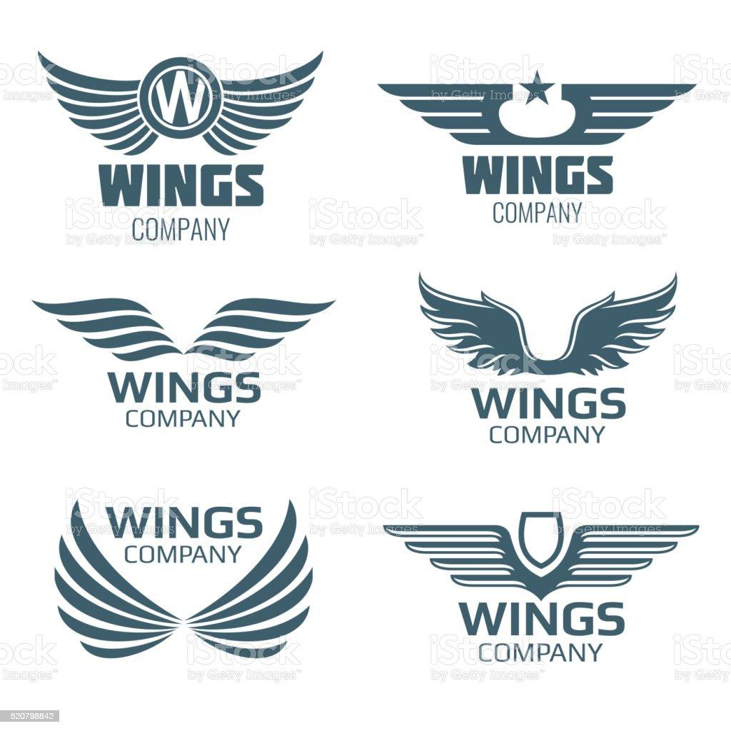 Vector wings logo set vector art illustration