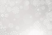 Vector winter abstract light gray background with radiance, snowfall and
