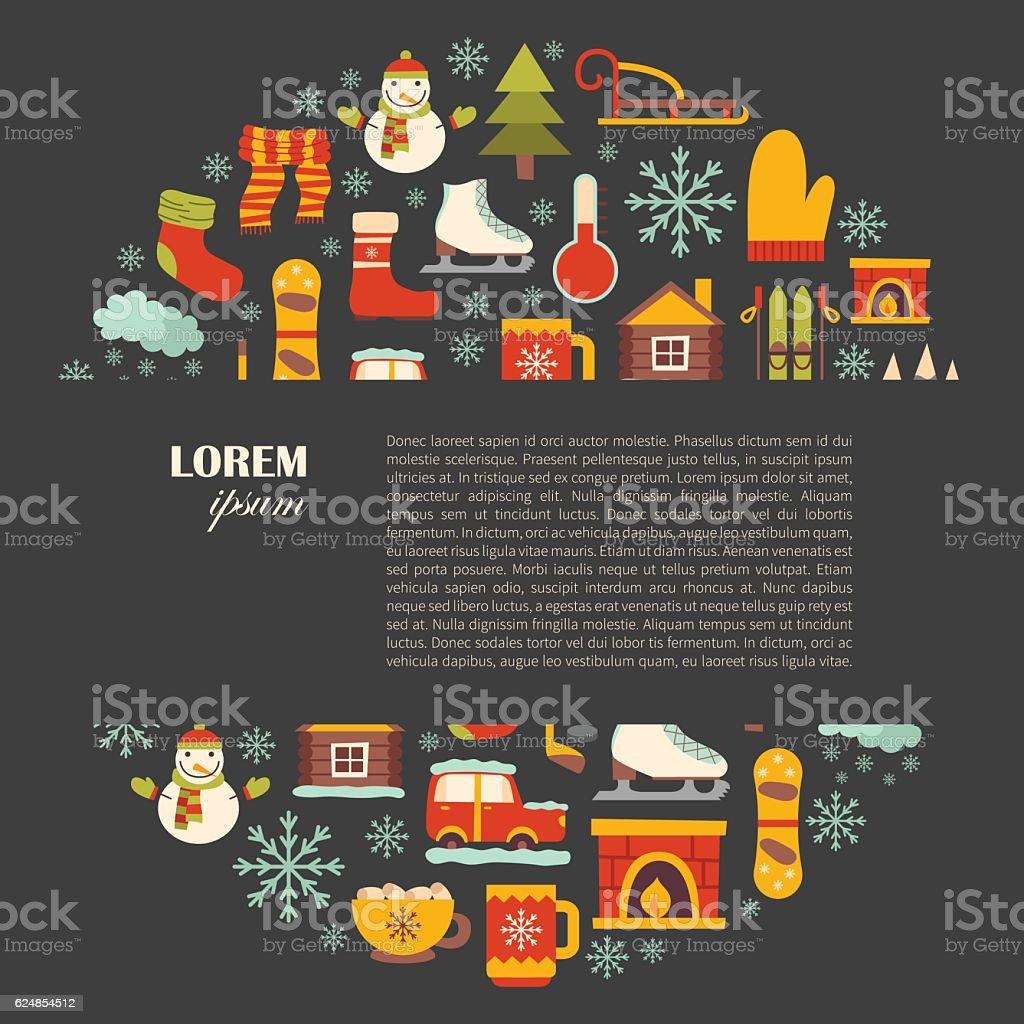 Vector winter cartoon background vector art illustration