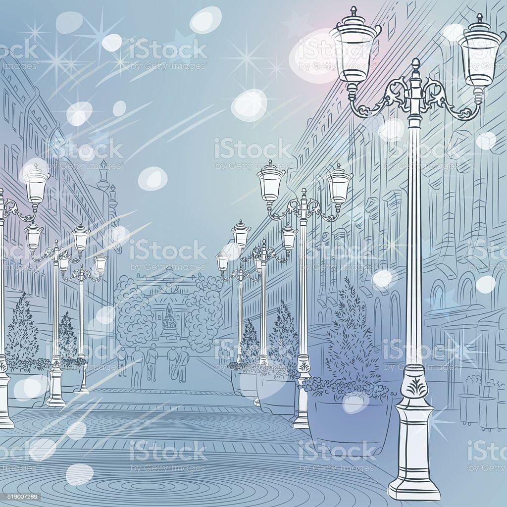 Vector winter Christmas Cityscape, avenue with vintage buildings vector art illustration