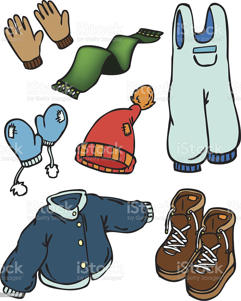 vector winter clothes royalty-free stock vector art
