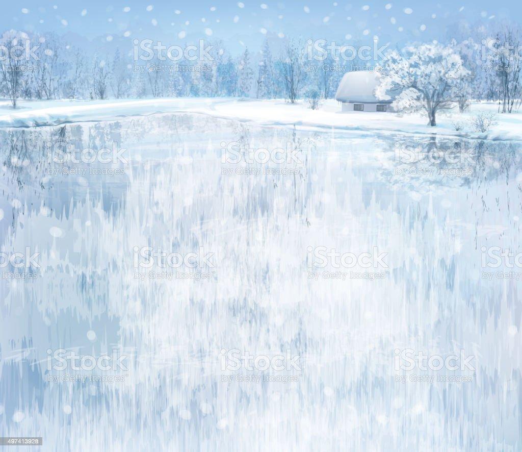 Vector winter landscape. vector art illustration