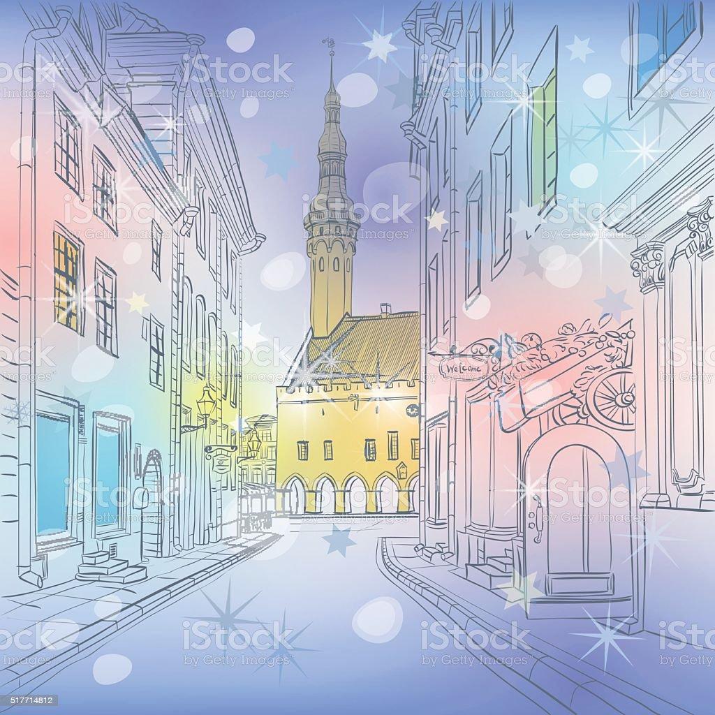Vector winter Medieval Old Town, Tallinn, Estonia vector art illustration