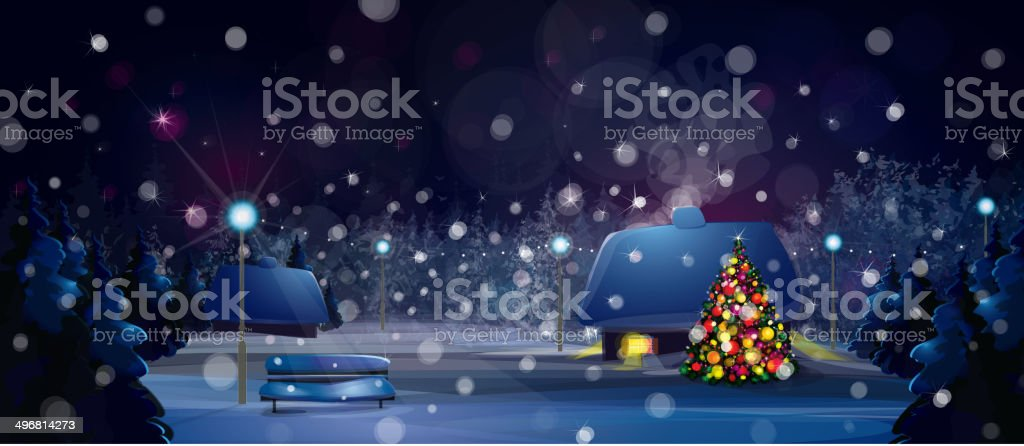 Vector winter night landscape with houses and Christmas tree. vector art illustration