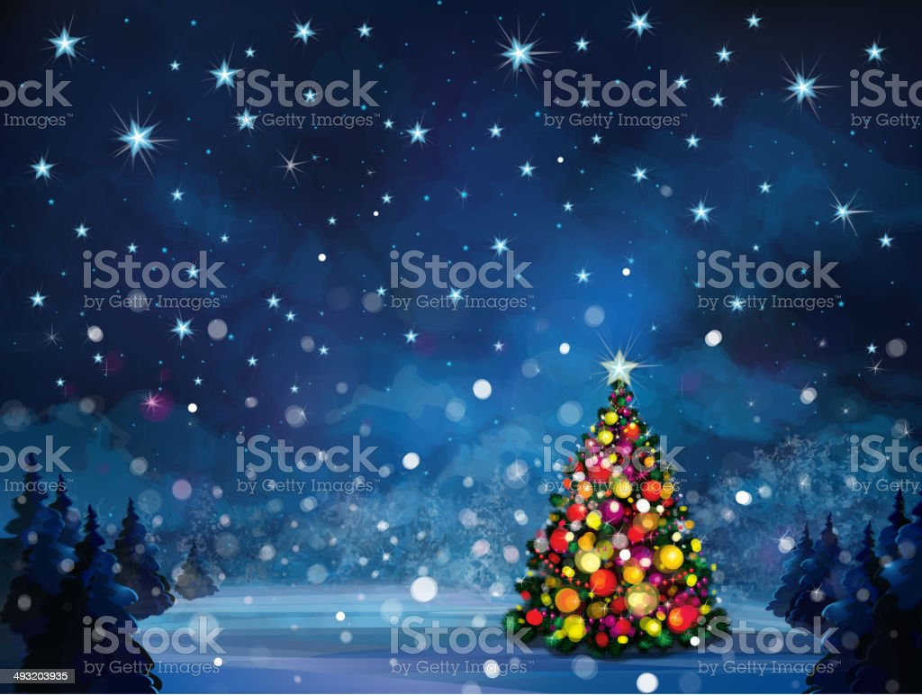 Vector winter scene with Christmas tree. vector art illustration