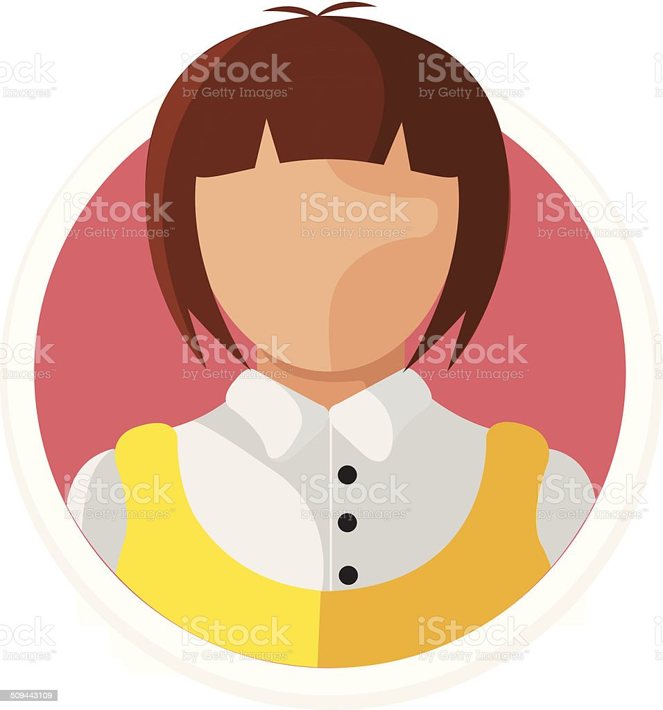 Vector Woman Avatar Flat Round Icon royalty-free stock vector art