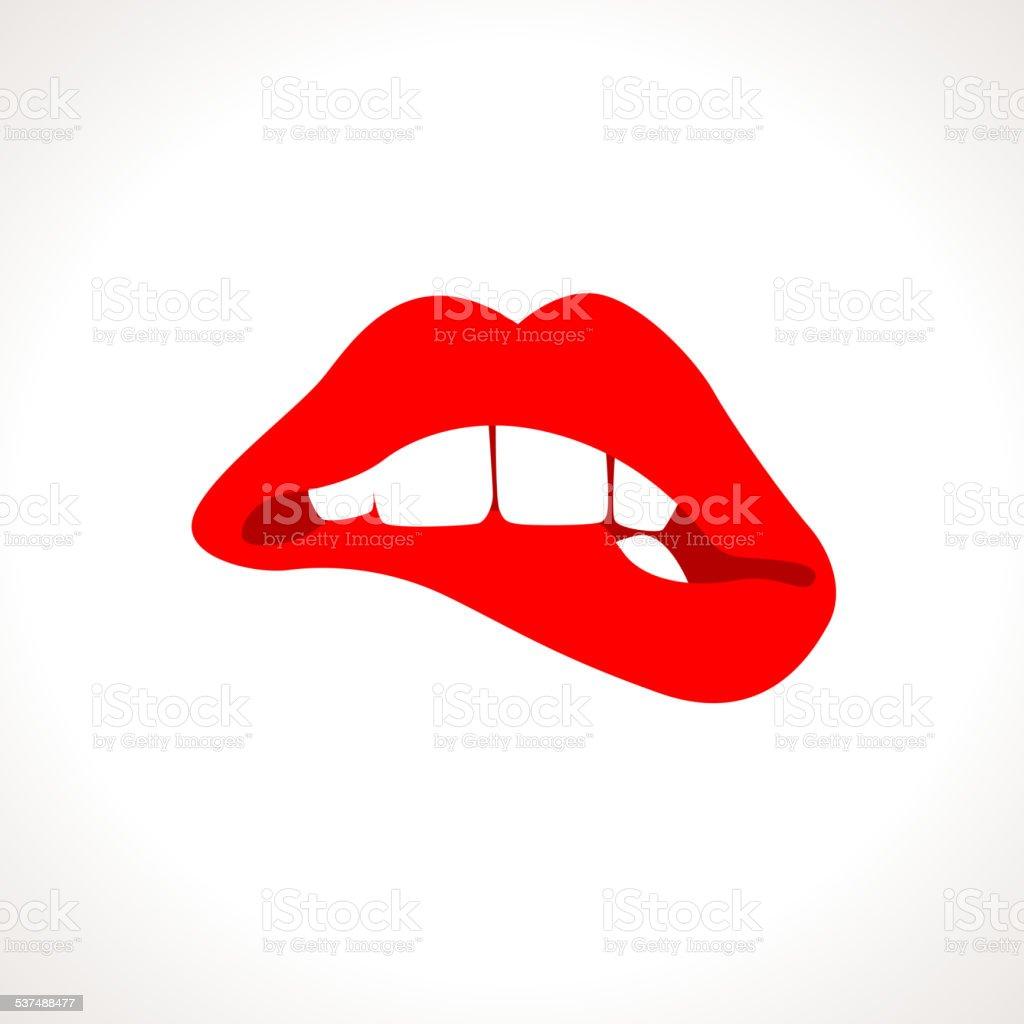 Vector Woman Biting Lips Popart Illustration vector art illustration