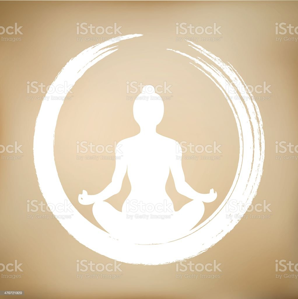 Vector Woman Doing Yoga with Zen Circle vector art illustration