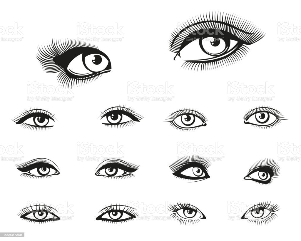 Vector woman eyes set vector art illustration
