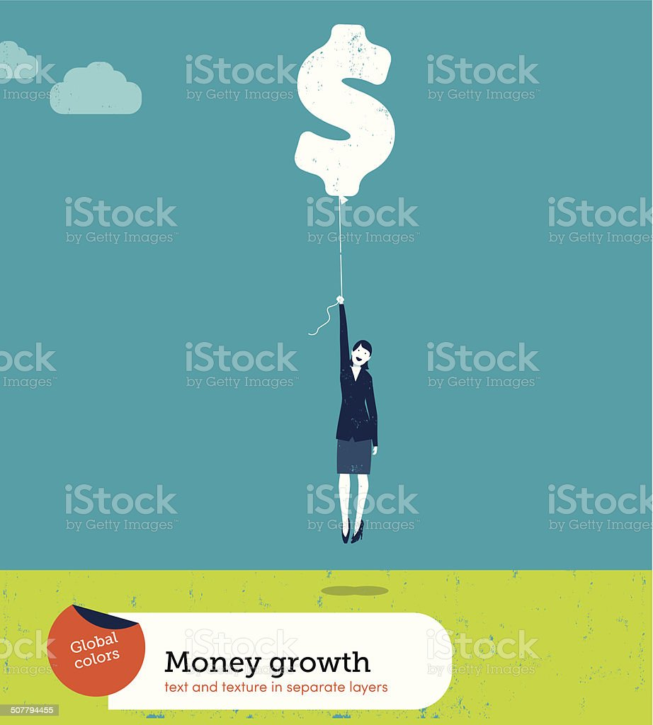 Vector Woman Flying with Money Balloon royalty-free stock vector art
