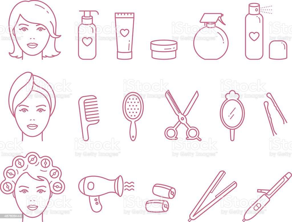 Vector Woman Hair Care Linear Icon set vector art illustration