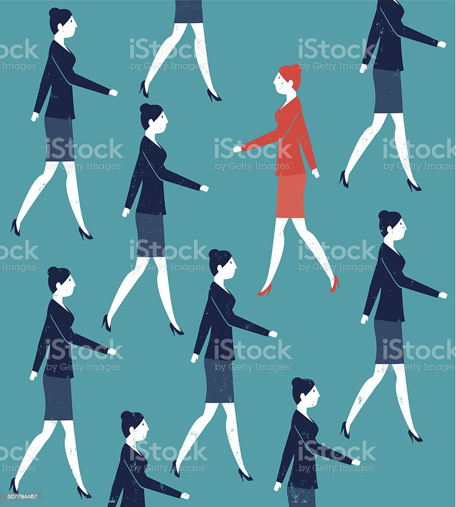 Vector Woman Walking Against the Crowd vector art illustration