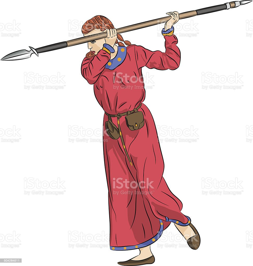 vector woman warrior with a spear royalty-free stock vector art