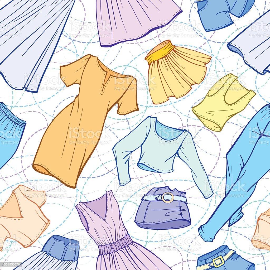 Vector women clothes seamless pattern vector art illustration