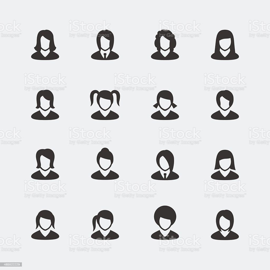 Vector women mini icons set vector art illustration