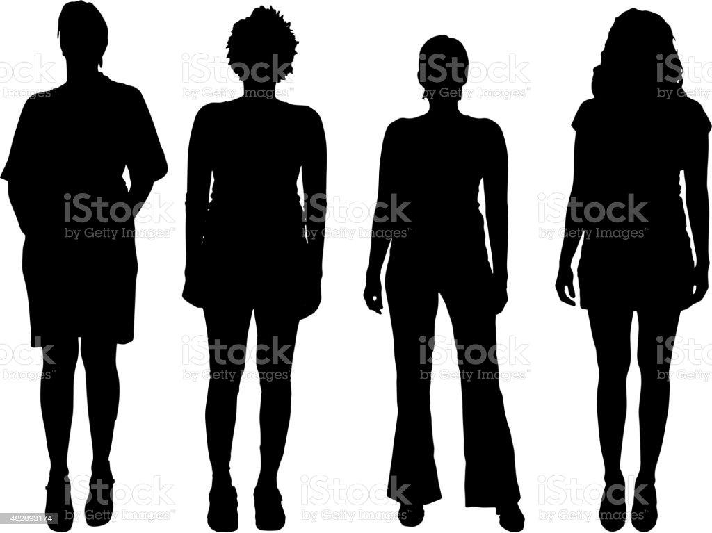 Vector women silhouette. vector art illustration