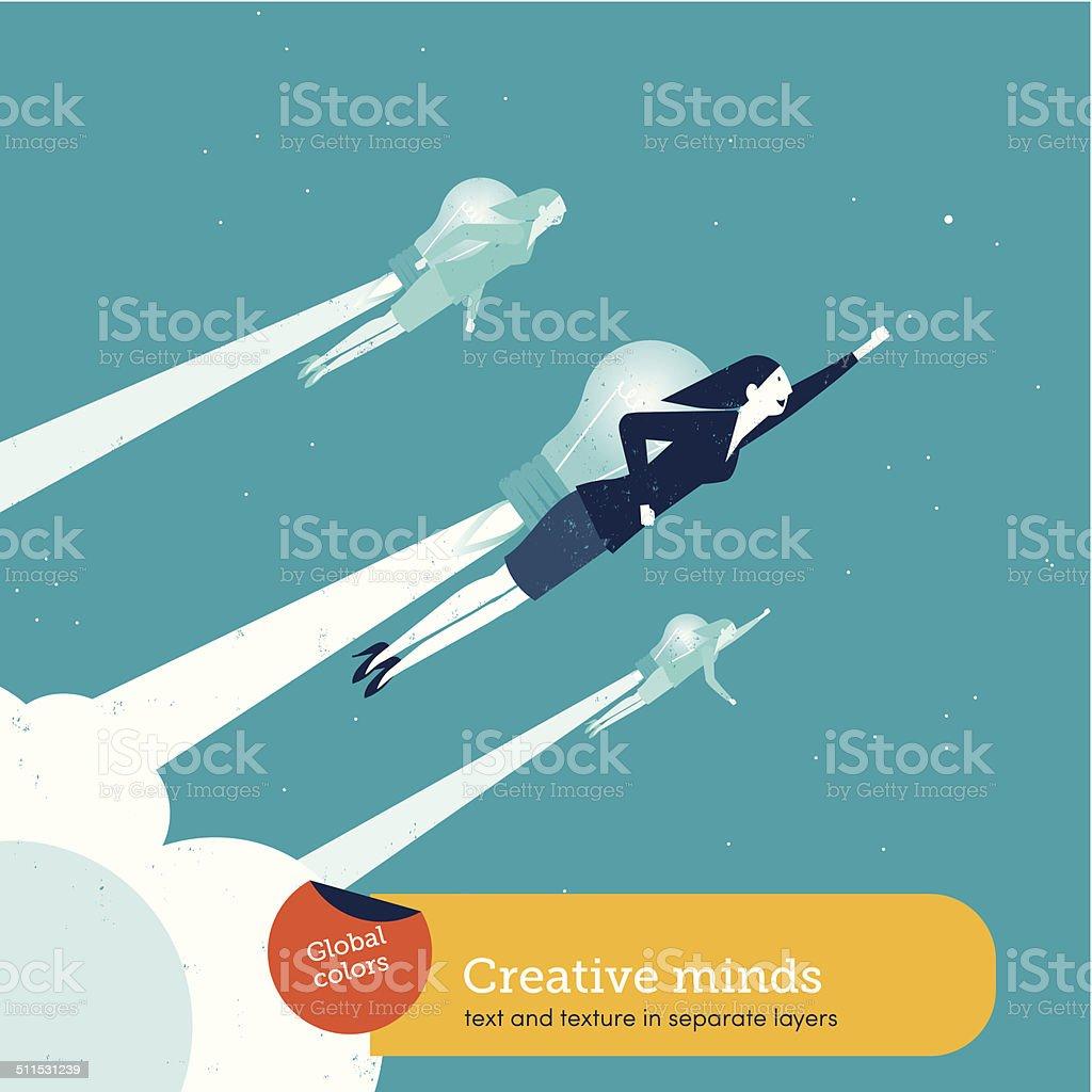 Vector women with a bulb rocket vector art illustration