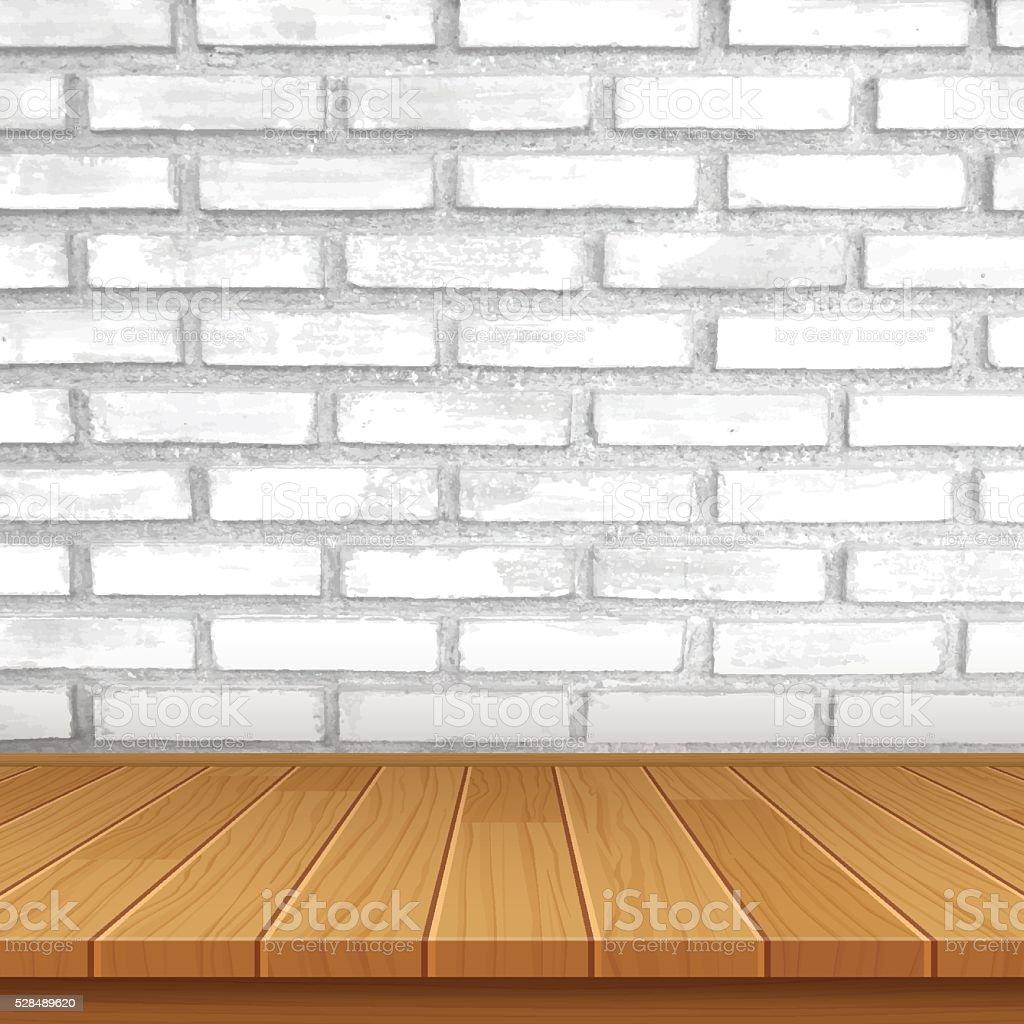 vector de mesa de madera sobre fondo muro de ladrillos libre de derechos libre