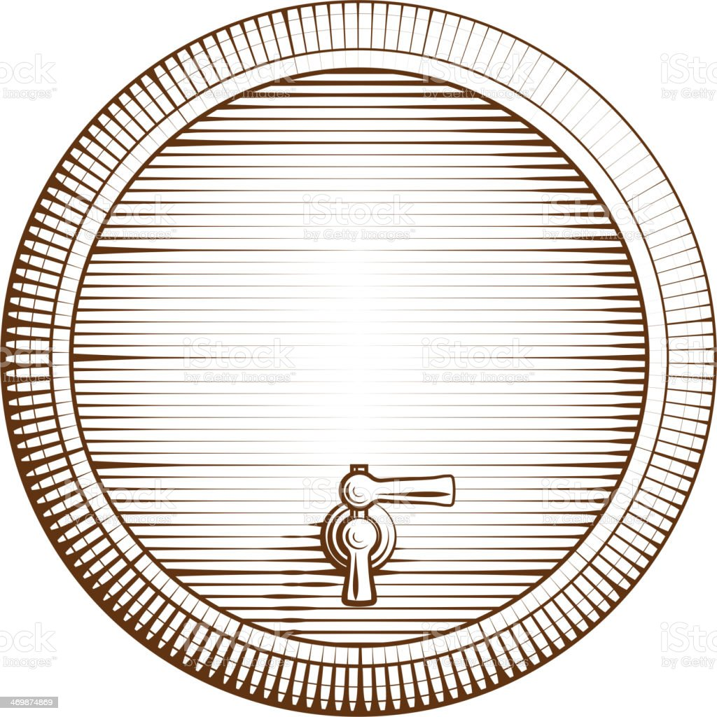 Vector wooden barrel vector art illustration
