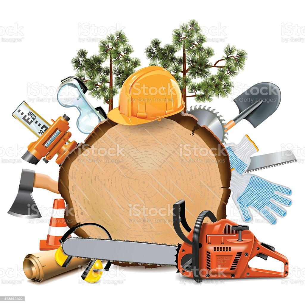 Vector Wooden Board with Chainsaw vector art illustration