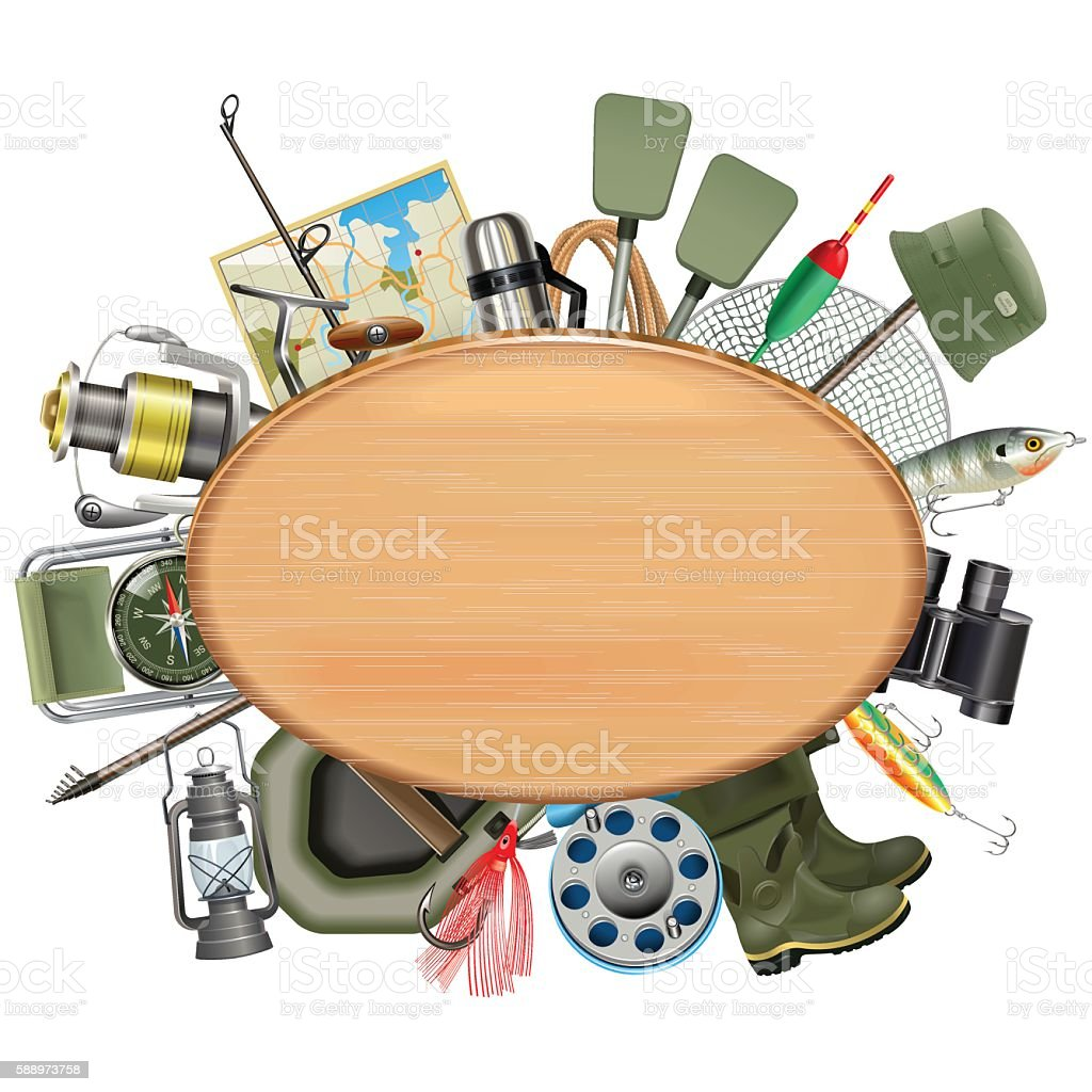 Vector Wooden Board with Fishing Tackle vector art illustration