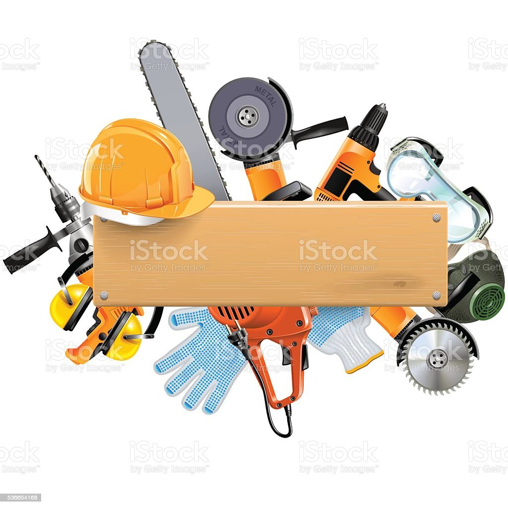 Vector Wooden Board with Tools vector art illustration