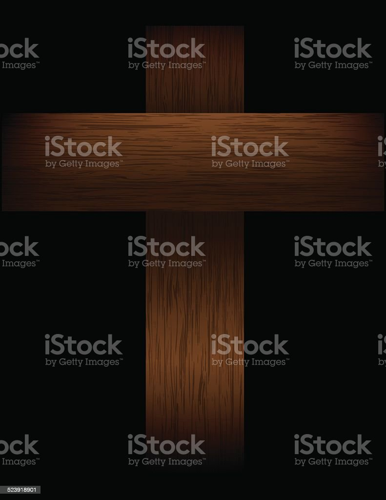 Vector Wooden Cross on Black Illustration vector art illustration