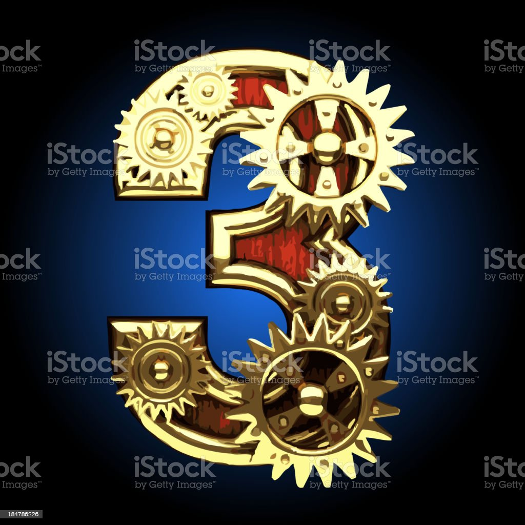 Vector wooden figure with gears 3 royalty-free stock vector art