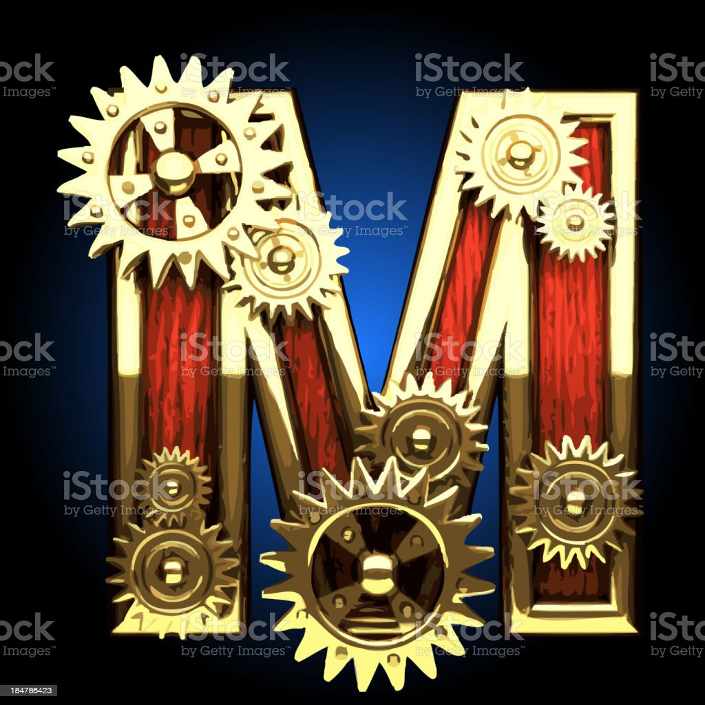 Vector wooden figure with gears m royalty-free stock vector art